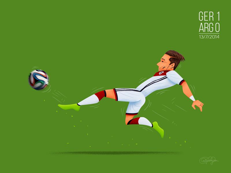 Mario Götze batendo a Argentina faltando 5 minutos para acabar a prorrogação na final.